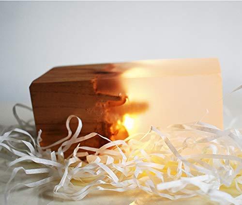 Luces de la noche Resina sólida de madera pequeña luz de la noche regalo Luz Led Mesa de noche de la lámpara de la lámpara de la lámpara amarilla (Sin la caja de control), Amarillo (Sin la caja de con