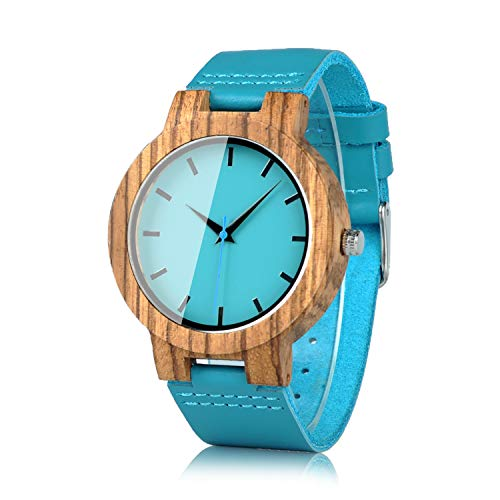 BOBO BIRD Men's Bamboo Wooden Watch with Blue Cowhide Leather Strap Casual Watches for Groomsmen Gift with Box
