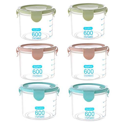 Xkfgcm Set 6 Pezzi contenitori ermetici per Alimenti Migliori contenitori per Farina e Cereali in Cucina e in dispensa Barattoli in Plastica Senza BPA con Coperchi per Farina Cereali Pasta 0.6L