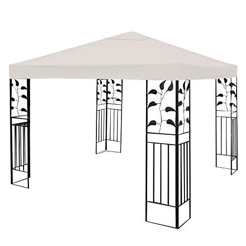 COSTWAY 3x3m Gazebo Top Cover Roof Replacement, Outdoor Waterproof Canopy Tent Roof Top Spare Part for Garden Patio (1-Tier, Beige)