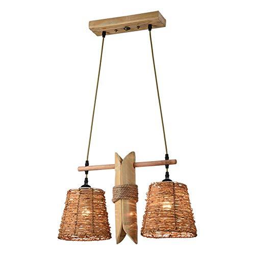 ZZYJYALG Japonés De Ratán De Bambú Colgante Luces Personalidad Creativa Twine Lámpara Restaurante Chino Salón Bar Araña De Madera E27 2 Luces Decoración Iluminación