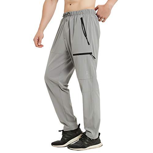 PRIESSEI Men's Pants Outdoor Elastic-Waist Lightweight Cargo Pants Quick Dry Grey S