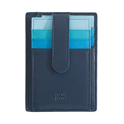Porta carte di credito in pelle multicolore con fettuccia DUDU Blu