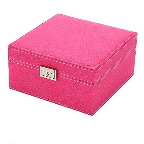 SSH-Jewelry Box Joyero Grande con Forma De Abanico VersióN Coreana De La Franela De Princesa Joyero De Madera Joyero Doble Caja De Almacenamiento Rosa Roja 20.5 * 20.5 * 11cm