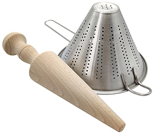 Set de Colador chino de acero inoxidable y Mano de mortero chino de madera de haya - Utensilios para la cocina (Colador de 18cm y Mano de 27cm)