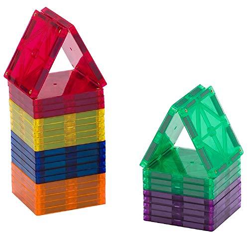 Playmags Starter Kit - 30 Stück Squares Set: Jetzt mit stärkeren Magneten, Robust, Super-Durable Magnetic Fliesen mit Vivid Farben entfernen STEM Spielzeug für Kinder