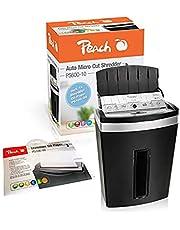 Peach PS600-10A niszczarka do dokumentów wraz z papierem olejowym PS100-00 | 90 arkuszy, 20 litrów | 3 x 10 mm cząsteczki (P-5) | Autofeed | papier, karty kredytowe | praca ciągła 10 min | DSGVO 2018