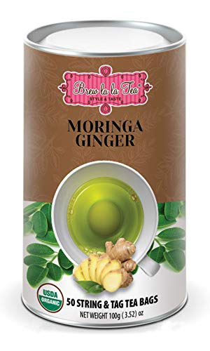 Brew La La Organic Moringa Caffeine Free Herbal Tea - Ginger Flavor - 50 Tea Bags - Superfood Tea - Keto/Paleo Diet Compatible …