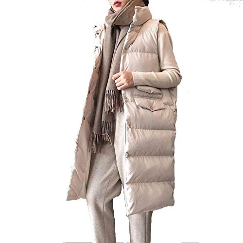 Chaleco De Plumas Mujer Invierno,Chaleco De Plumón Mujer Invierno Chaleco De Mujer Largo Ultra Ligero Plumón De Pato Sin Mangas Beige Color Sólido Chaleco Cálido Chaqueta Ropa De Abrigo Femenina