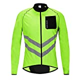 WOSAWE Men s High Visibility Cycling Windbreaker Reflective Bicycle Jacket, Green L