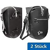 HiLo sports 2 Stück wasserdichte 25L Gepäckträgertasche Fahrrad - Verschweißte Fahrradtasche aus Planen Material - Radtasche Gepäckträger mit Innentasche - Rolltop Hinterradtasche (schwarz - 2 Stück)