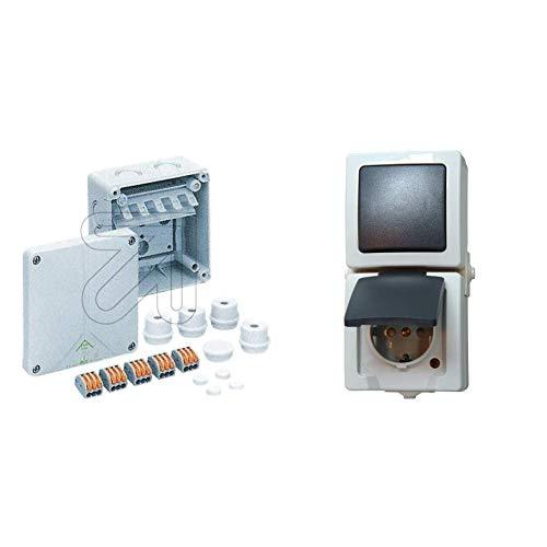 Spelsberg Verbindungsdose, 110 x 110 x 67 mm, IP65, GR Abox SL-2,5 qmm, 1196033 & Kopp Nautic Steckdose und Schalter Kombination für Feuchtraum, IP44, 250V (16A), grau, 138556008