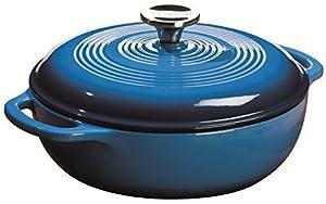 Lodge EC3D33 Enameled Cast Iron Dutch Oven, 3-Quart, Caribbean Blue