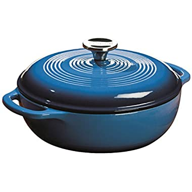 Lodge EC3D33 Enameled Cast Iron Dutch Oven, 3-Quart,  Caribbean Blue