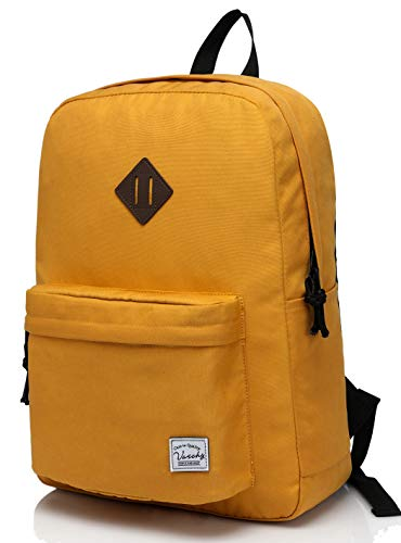 Lightweight Backpack for School, VASCHY Classic Basic Water Resistant Casual Day-pack for Travel with Bottle Side Pockets (Gold)
