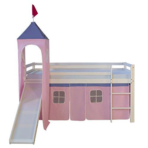 Homestyle4u 1551, Kinder Hochbett Mit Rutsche, Leiter, Turm, Vorhang Rosa Rose, Massivholz Kiefer Weiß, 90x200 cm