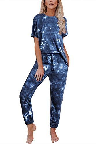 Fixmatti Women 2 Piece Sweatsuit Short Sleeve Shirts Daily Nightwear Pant Suits 2XL