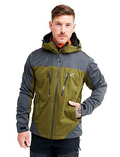 RevolutionRace Silence Proshell Jacket da Uomo, Giacca da Uomo, giacca aerata e impermeabile per l'escursionismo e altre attività all'aria aperta, Dark Olive, S
