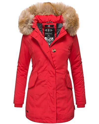 Marikoo Damen Parka Jacke Winterjacke Fellkapuze Trend Farben KRM55 (L / 40, Rot)