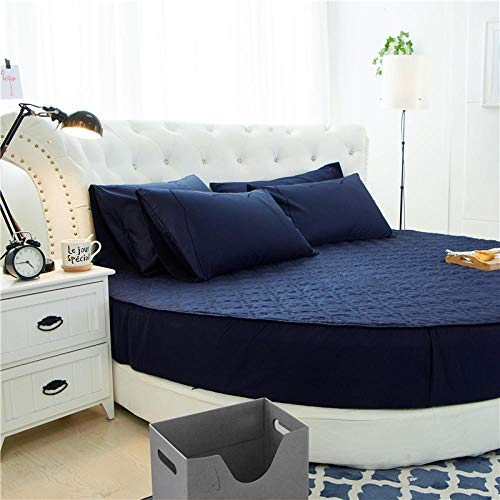 HPPSLT Protector de colchón/Cubre colchón Acolchado de Fibra antiácaros, Transpirable, Cama Redonda de algodón Color sólido Engrosamiento-Azul Antiguo_1,8m