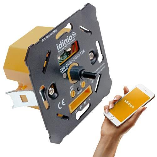 idinio Regulador inteligente WiFi 3 vías LED 5-180W Hal/Inc 10-300W. Empotrable 34mm. Control en el regulador y por App, Alexa, Google. Regulación corte fase final. Adaptador incl. para marco