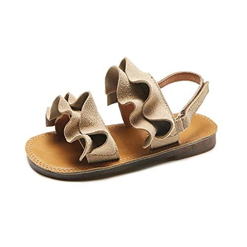 N\C Sandalias de playa de las muchachas de la moda casual de la hoja del loto cómodo suave inferior gancho y lazo zapatos de playa niños niños pequeños pisos