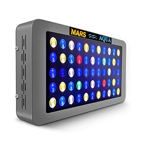 MarsAqua Dimmable 165W 300W LED Aquarium Light 30 Gallon 55 Gallon Coral Reef Light Full Spectrum for Fish Freshwater and Saltwater Coral Tank Blue and White 6500K LPS/SPS with Daisy Chain Multifuncti
