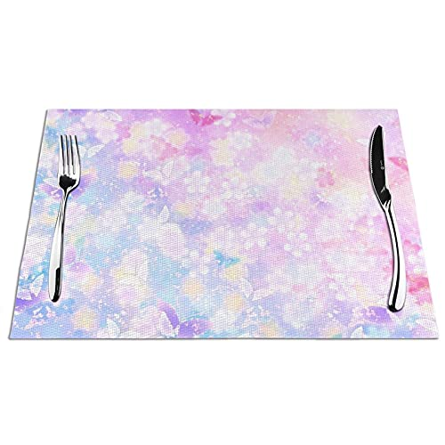 KPJDWEDS Pink Butterfly Placemats, Washable Easy to Clean, Heat Resistant Stain Anti-Skid PVC Placemats, Woven Vinyl Table Mats for Kitchen Dining Table 12 X 18 Inch(Set of 4)