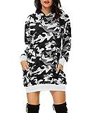 Auxo Donna Felpe con Cappuccio Maglione Manica Lunga Camouflage Tasche Casual Pullover Oversize Felpa Abito Hoodie Maglie Lunghe Camouflage3 L
