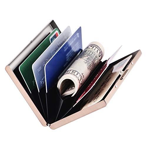 RFID Delgado Billetera de Acero Inoxidable con Tecnología de Bloqueo RFID Que Protege Tus Tarjetas de Crédito y DNI para Tarjetero con 6 Ranuras Ultra Delgad, para Hombre y Mujer. (Ⅳ#Oro Rosa-Acero)