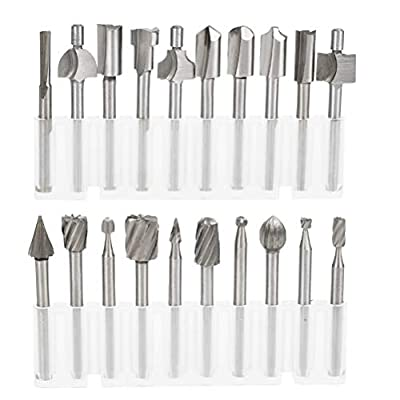 QLOUNI 10Pcs Rotary Bits and 10Pcs HSS Router Carbide Carving Bits with 1/8''(3mm) Shank for DIY Woodworking, Carving, Engraving, Drilling