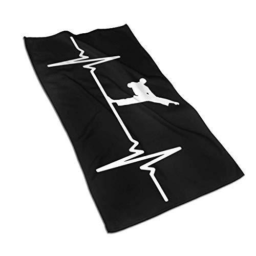 Teash Karate Heartbeat Mikrofasertuch Schnelltrocknende Waschlappen Sporttuch 27,5 * 15,7In