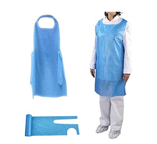 Hochwertige Polyethylen-Schürzen – Einweg-Schürze für Erwachsene und Damen – Wegwerfen aus Kunststoff Virenschutz – Medizinische PSA-Kittel perfekt für Friseure (auf Rolle) (blau) (200)