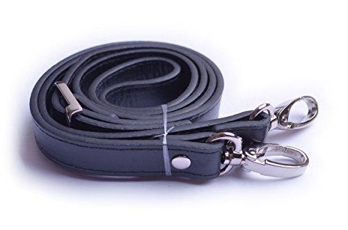 Wento 1pcs 43''-49'' Black PU Leather Straps Adjustable Bag Strap,Soft Vinyl Leather Shoulder Straps,Replacement Cross Body Purse Straps,Handbag Bag Wallet Straps (Silver)…
