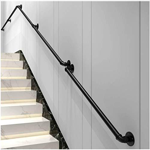 Industrie Handlauf Treppe Bausatz Metall Handlauf mit Lang 80,0 cm schwarz matt Übergangshandlauf für Innen- und Außentreppe Balkonbrüstung