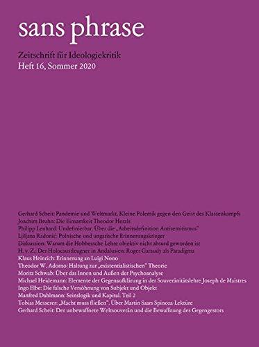 sans phrase: Zeitschrift für Ideologiekritik; Heft 16, Sommer 2020