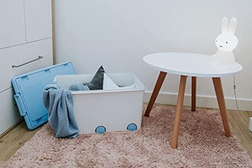 LAPSI® Spielzeugkiste, Aufbewahrungsbox mit 6 Rollen mit Deckel auf Rädern Weiß Hase - 4
