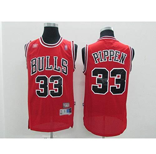 Herren-Basketball-Jersey Chicago Bulls Scottie Pippen # 33, Breathable Schaukel Man Jersey Fans Sport Ärmel T-Shirt,Rot,M