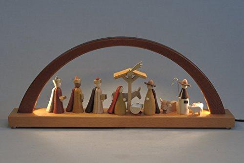 Schwibbogen Erzgebirge Richard Glässer Seiffen Christi Geburt, LED-Beleuchtung, neues Naturholzdesign, 01091