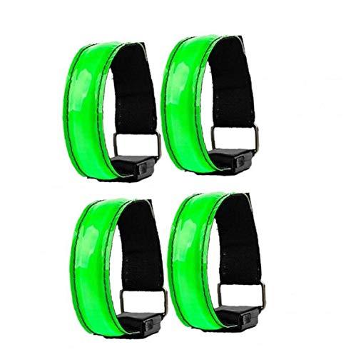 TongICheng Deportes Brazal Llevado Luminoso USB Pulsera Brazalete con Las Luces Que Destellan para Los Deportes Funcionamiento De La Noche 4pcs Ciclismo Verdes