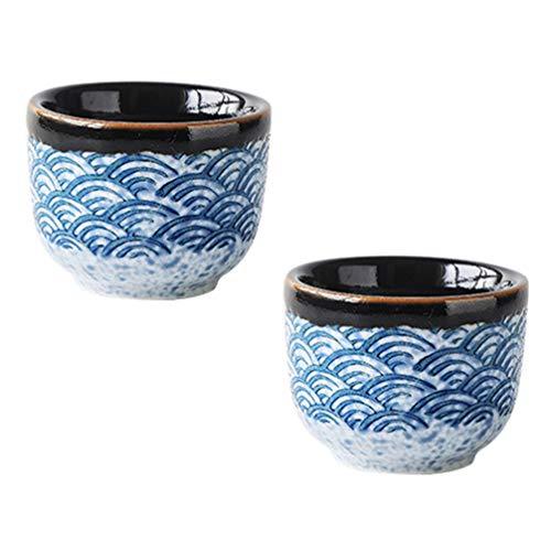 Cabilock 2 Piezas Tazas de Té de Cerámica Japonesa Tazas de Té de Cerámica Esmaltada Tradicional Taza de Café de Té Kungfu Tazas de Porcelana Artesanal