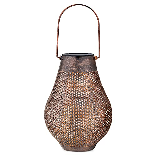 Navaris Linterna solar para exteriores - Farol con luces de colores LED solares - Farolillo con asa para colgar - Decoración de exterior para jardín