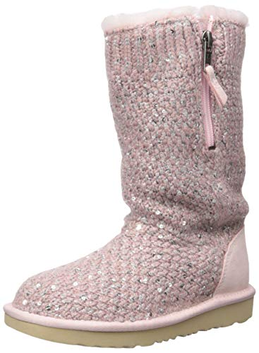UGG Kids' Sequin Knit Boot, Pink Crystal, 4 M US Big Kid