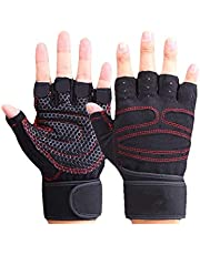 Workout Gloves with Wrist Support Anti-Slip Silica Gel Grip Adjustable Velcro Strap Weightlifting Gloves For Cross Fit Fitness Cycling XL