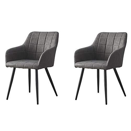 OFCASA Juego de 2 sillas de piel sintética con reposabrazos y sillones para salón, recepción, oficina, color gris