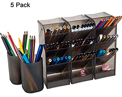 YAOYUE 5 Pack Pencil Pen Holder Cup Containers Large Size Style Makeup Desk Organizer Storage for Office School Home Supplies