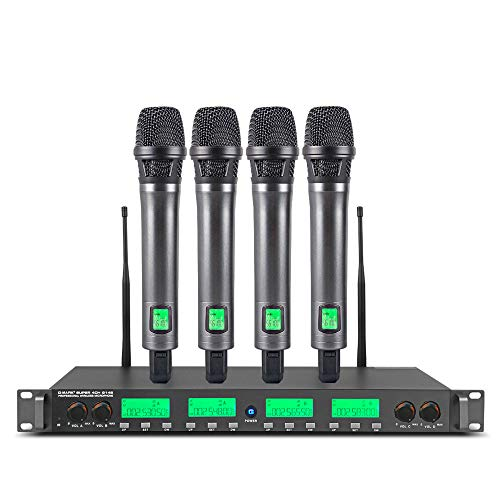 G-MARK G14S - Juego de micrófono inalámbrico (4 canales, UHF, 4 micrófonos de mano, carcasa de metal, frecuencia seleccionable, 150 m)