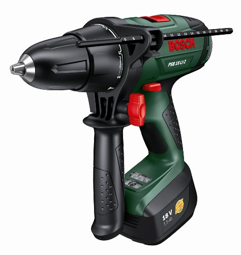 Bosch PSB 18 LI-2 Cordless Lithium-Ion Hammer Drill Driver with 1 x 18 V Battery, 1.5 Ah
