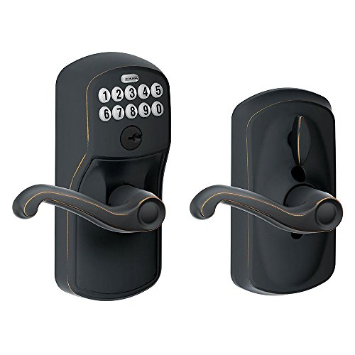 Schlage FE595 PLY 716 FLA Plymouth Keypad Entry with Flex-Lock and Flair Style Levers, Aged Bronze