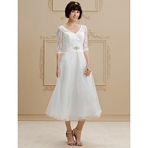 kekafu A-Line V-Neck Tee Länge Spitze Tüll Hochzeit Kleid mit Perlenstickerei Spitze LAN TING Braut, Champagner, US18W/UK 22 / EU 48 (+ USD $ 9,99)